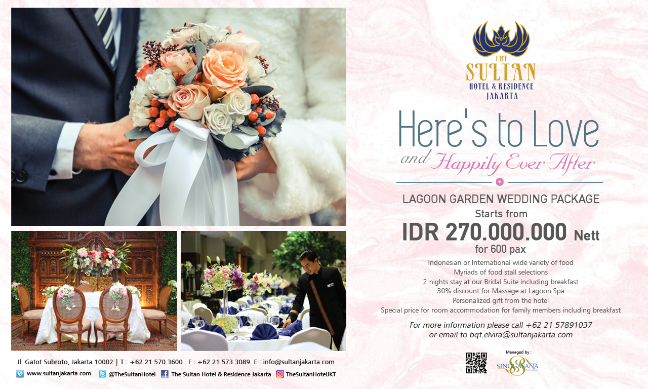 Wedding Package At Lagoon Garden The Sultan Hotel Residence Jakarta By The Sultan Hotel Residence Jakarta Bridestory Com