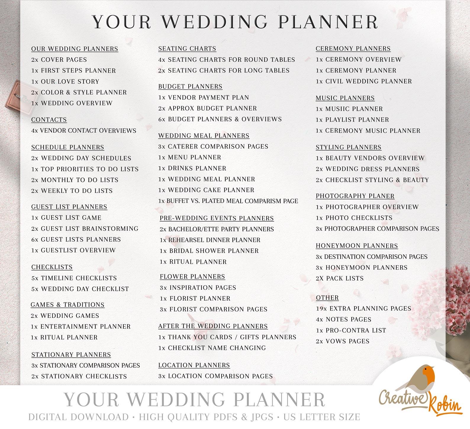 Printable Wedding Planner Wedding Organizer Bridesmaid Planner Bride Planner Wedding Checklist 135 Pages Printable Planner Creativerobin Bridestory