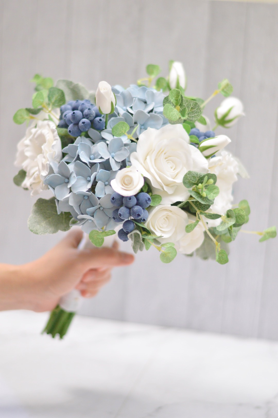 Dusty Blue And White Hand Bouquet By Taccraft Bridestory Store