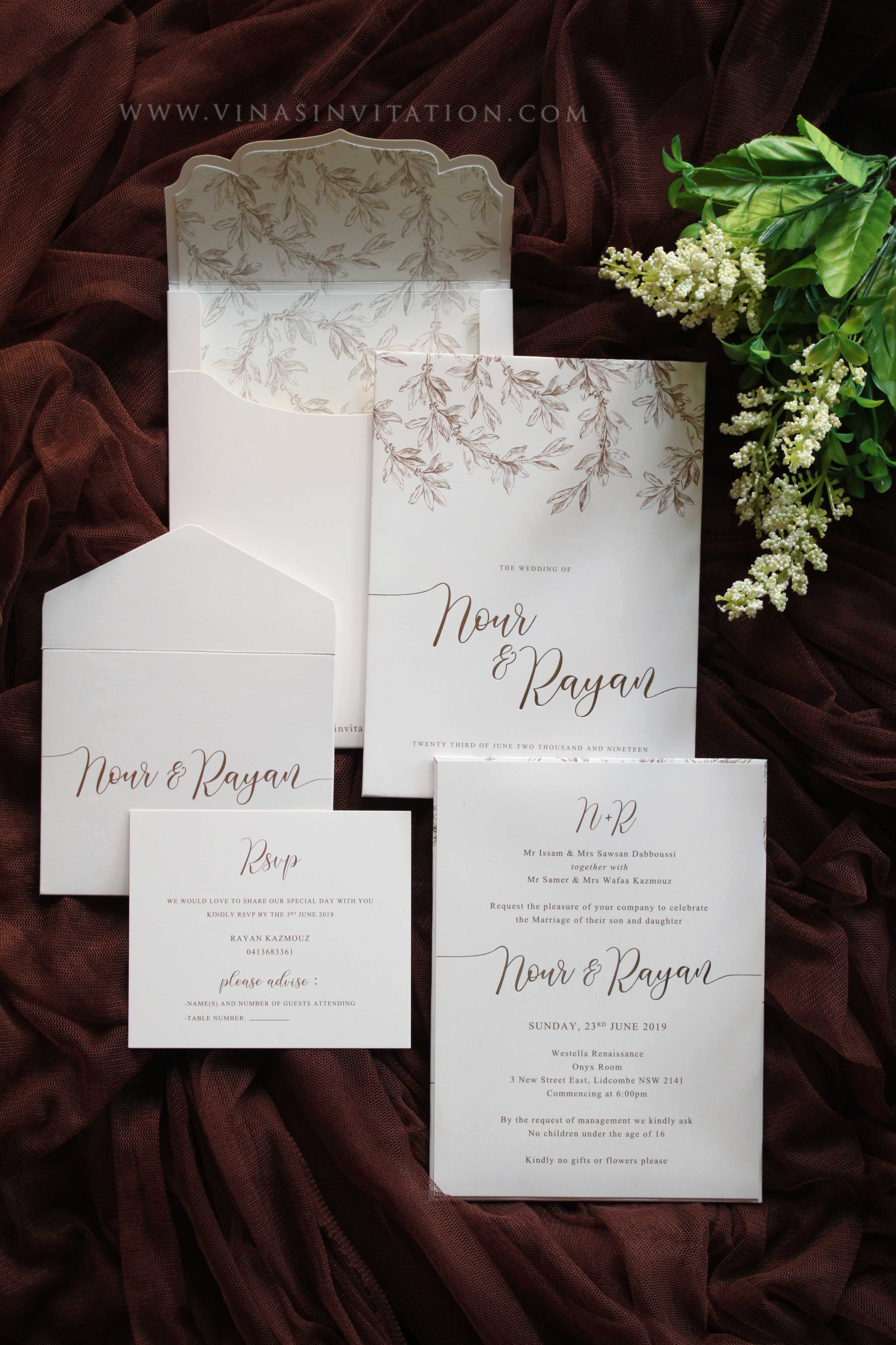 Nour Rayan By Vinas Invitation Bridestory Com