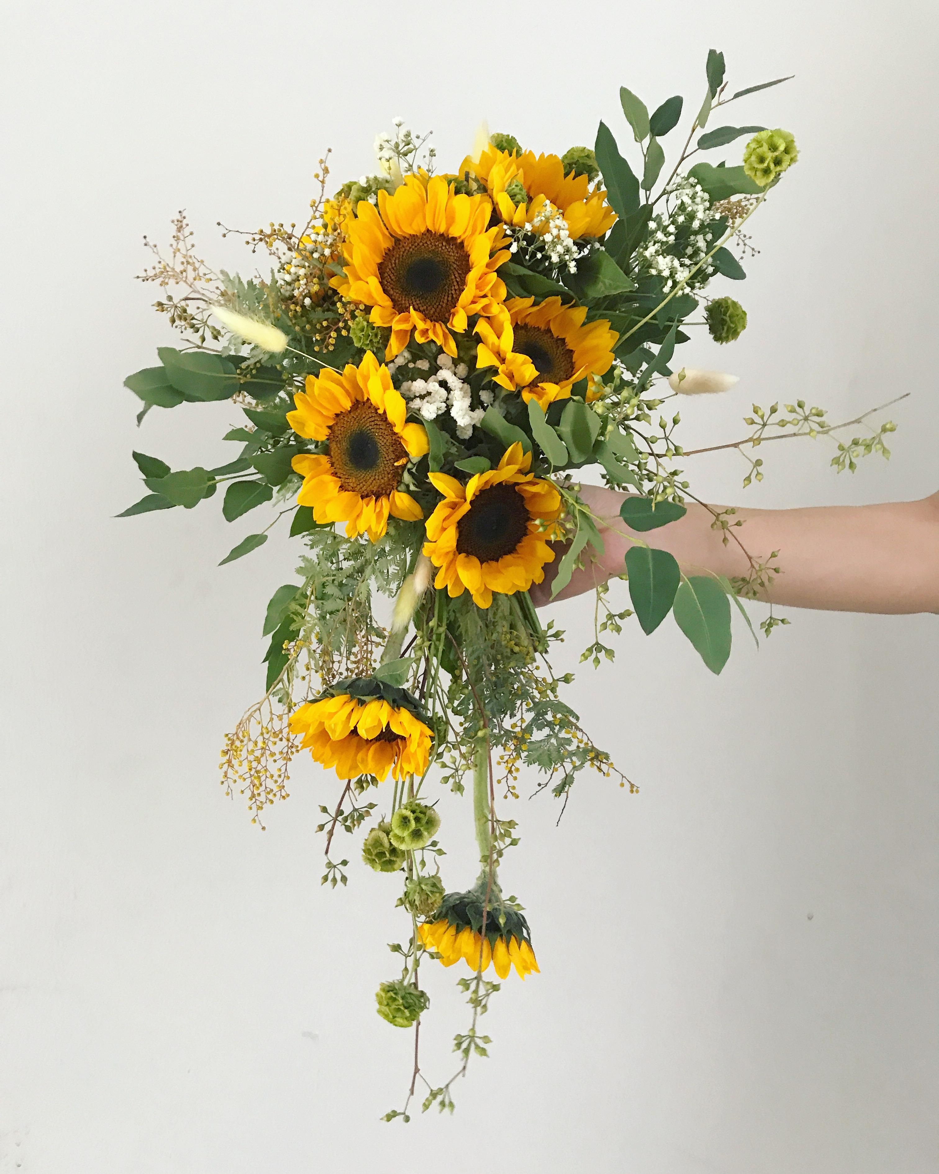 Sunflower Wedding Bouquet Ideas: Cascading Sunflower Bridal Bouquet By Eufloria