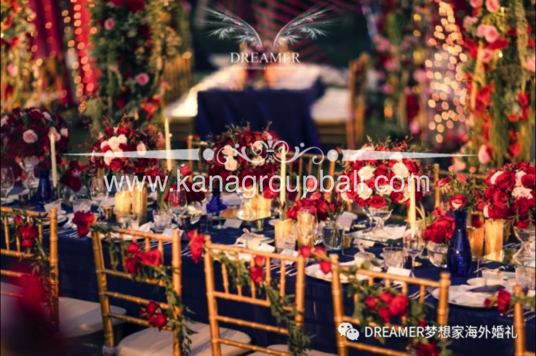 Red Maroon Navy Blue Wedding Theme By Bali Wedding Decoration