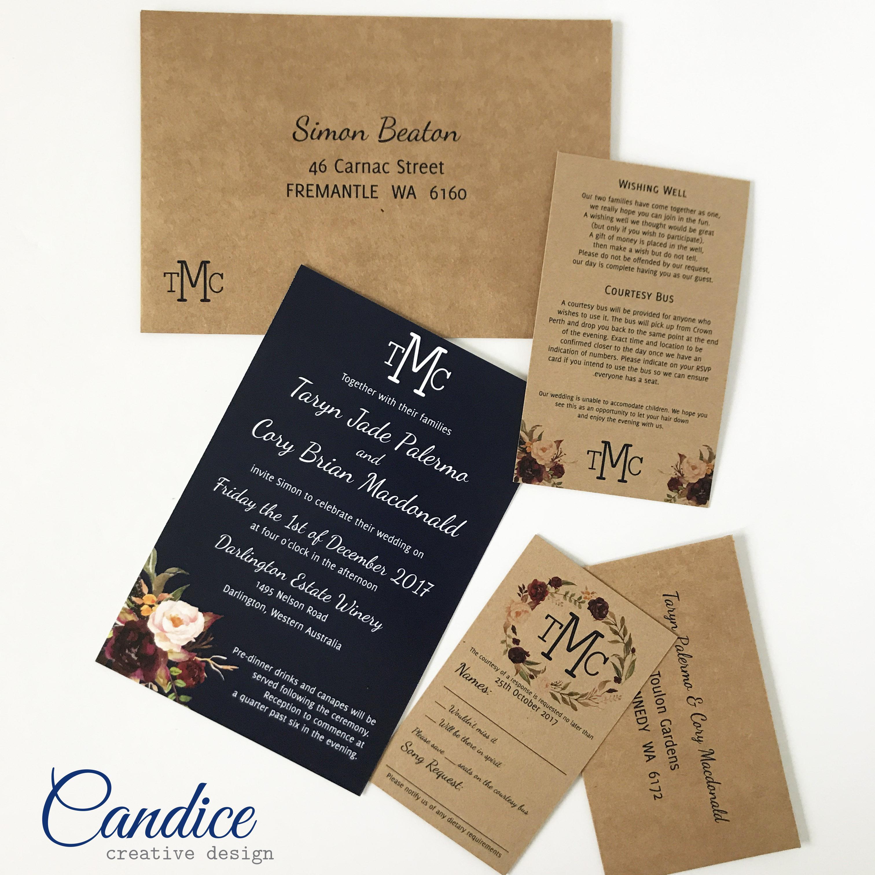 Candice creative design wedding invitations in perth western candice creative design wedding invitations in perth western australia bridestory stopboris Choice Image
