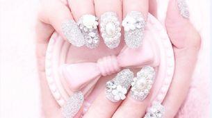 nail art - 24 pcs kuku palsu warna silver glitter dan permata