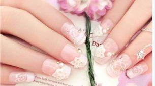 nail art - 24 pcs kuku palsu model bunga dan permata rainbow