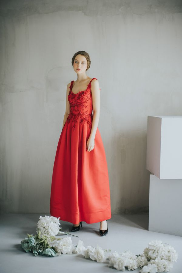 Emily Red Satin Gown with Beautiful Red Embroidery