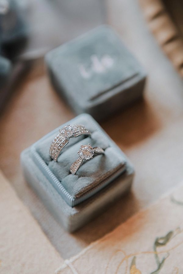 Square Double (with Personalization) Velvet Ring Box