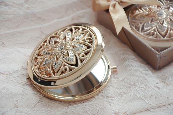 Crysant Flower gold round mirror