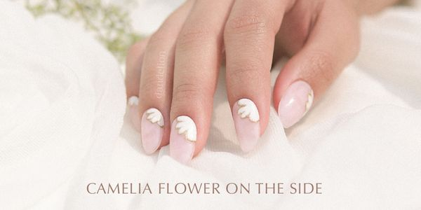 Wedding Nails (Camelia Flower on the side)