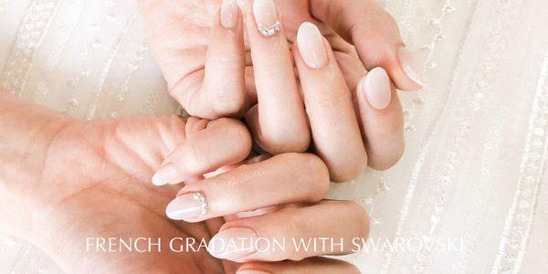 Wedding Nails (French Gradation with Swarovski)