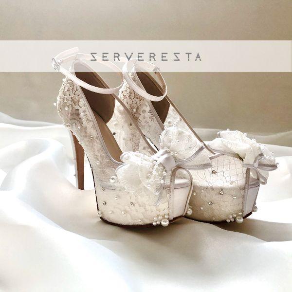 DHYNE - WHITE RIBBON- 12cm - Wedding Shoes - Bride Shoes - Party Shoes
