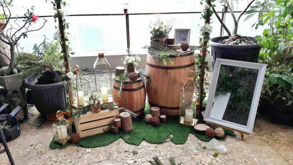 Barrel Kayu, Gentong Kayu, Tong Kayu, Standing Flower, Properti Rustic