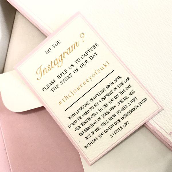 Elegant baby pink invitation - single board invitation