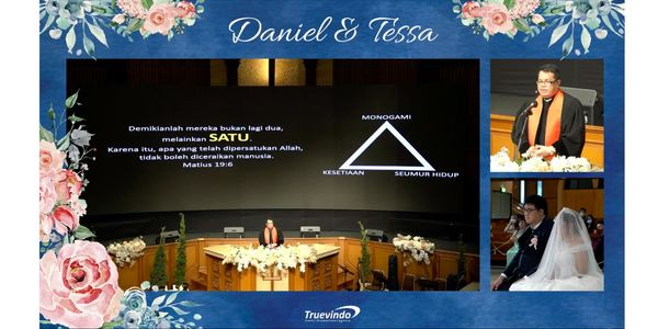 Live Stream 3 Camera - Virtual Online Wedding with Custom Frame Design