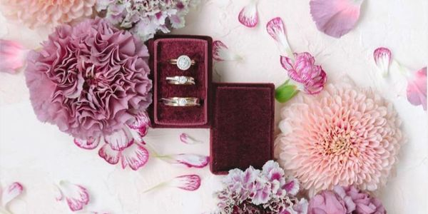Triple Slot Rectangle Velvet Ring Box (Without Personalization)