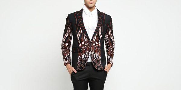 Jas Batik Black Kombinasi Slimfit Style
