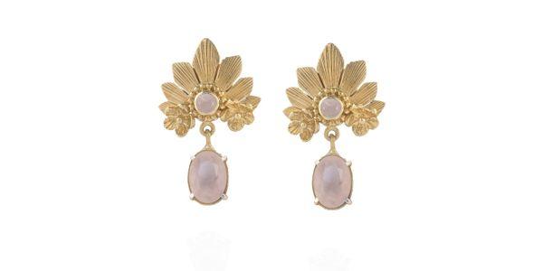 Mahkota Earrings Rose Quartz Gold Dip