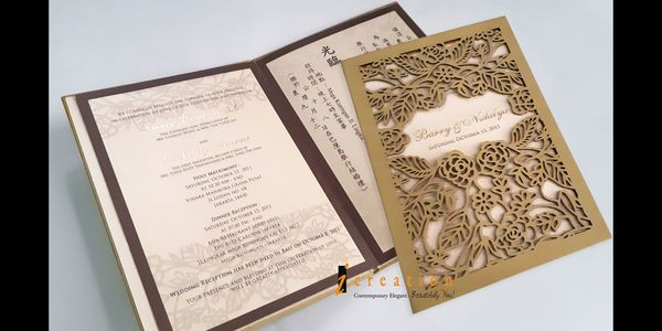 Special Package 12 - 50pcs Laser Cut Simple Bookstyle Invitation 1