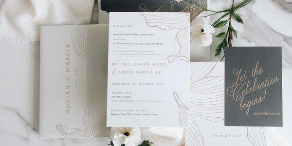 INTIMATE WEDDING- 50 PCS LETTER PRESS INVITATION