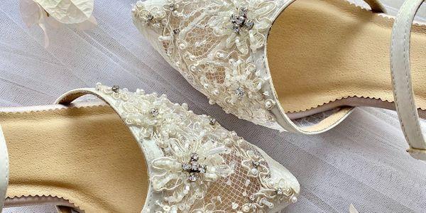 Ivory White Glass Block Heels 7cm