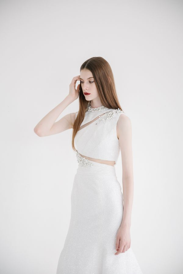 (DEC CLEAR SALE!) Full Glitz White Mermaid Dress