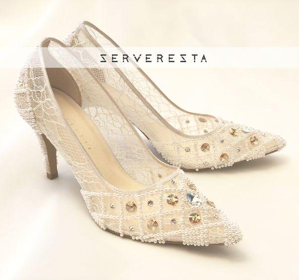 VINETTE - WHITE - Cream Stones - 9cm - Bride Shoes - Party Shoes