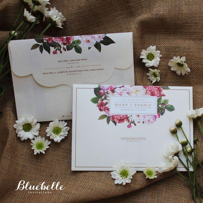 Ricky Evania Floral Burgundy Wedding Invitation by Bluebelle