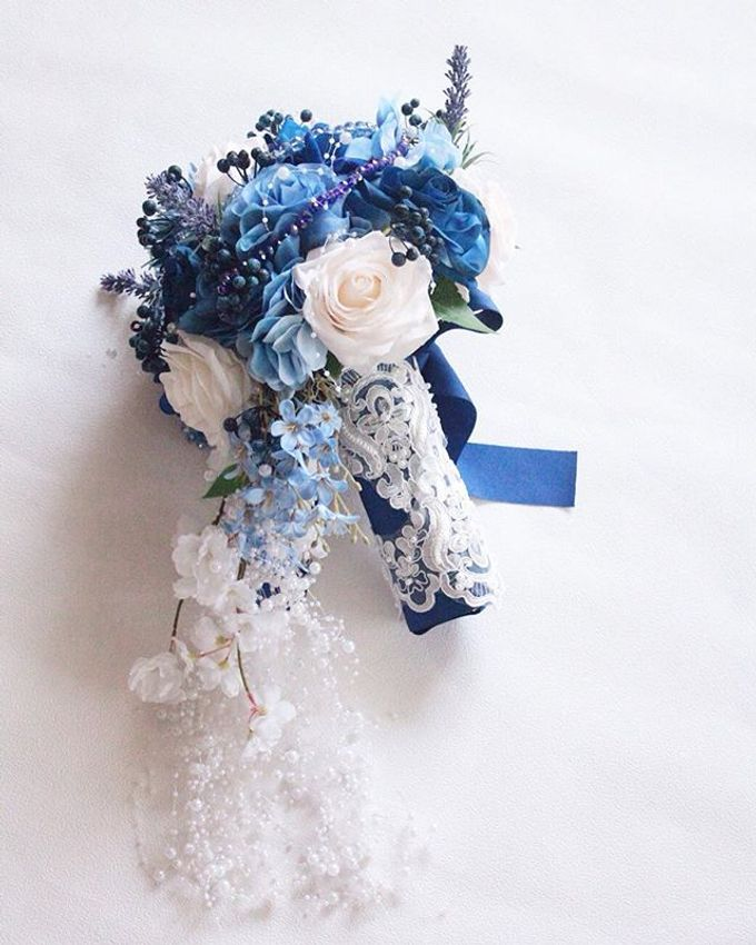 Royal Blue Cascade Hand Bouquet by Cup Of Love Design Studio - 003