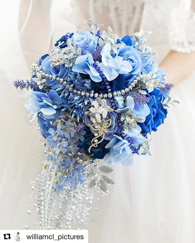 Royal Blue Cascade Hand Bouquet by Cup Of Love Design Studio - 005