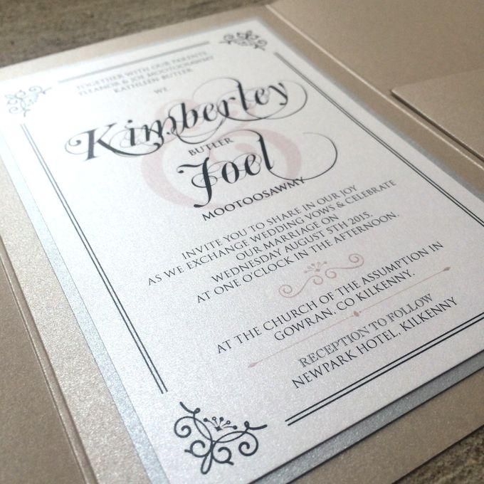 Beige Silver Traditional Wedding Invitation by Brown Fox – Traditional Wedding Invite