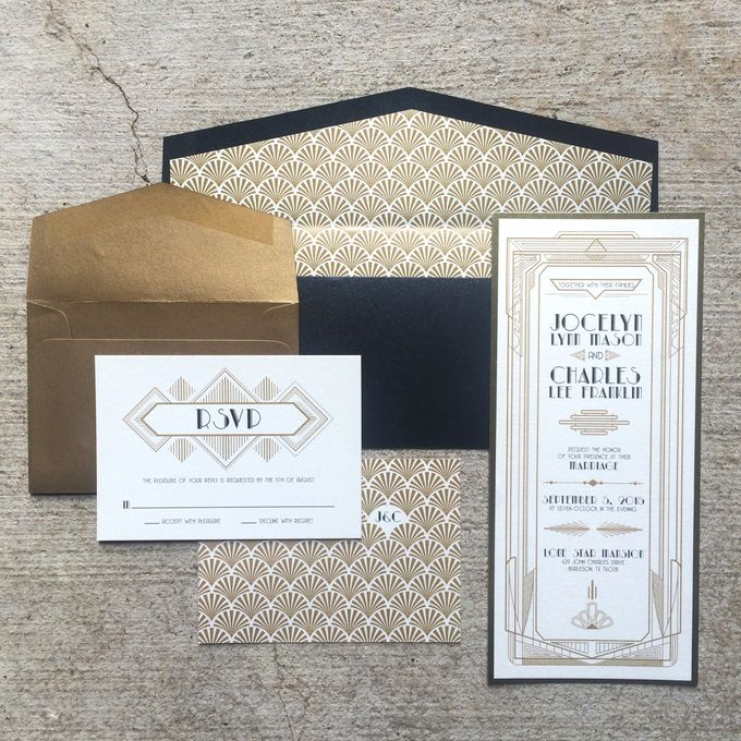 add to board great gatsby black gold wedding invitation suite by brown fox creative 001 - Great Gatsby Wedding Invitations