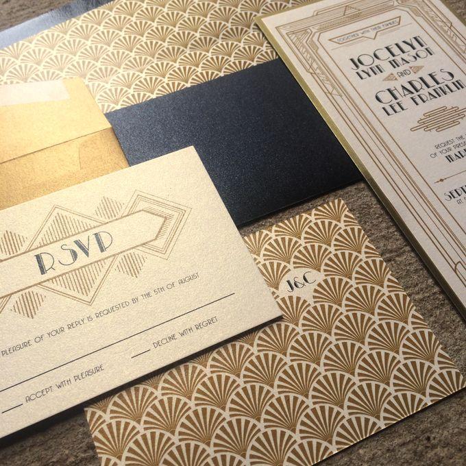Great Gatsby Black Gold Wedding Invitation Suite by Brown Fox – Brown and Gold Wedding Invitations