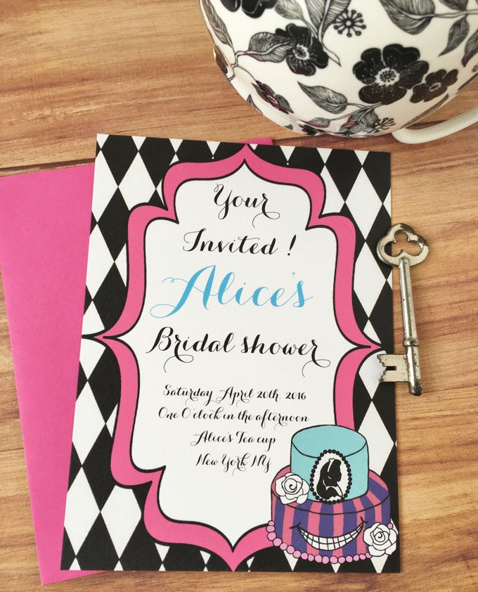 Alice in wonderland bridal shower invitations by Fancy Paperie - 002