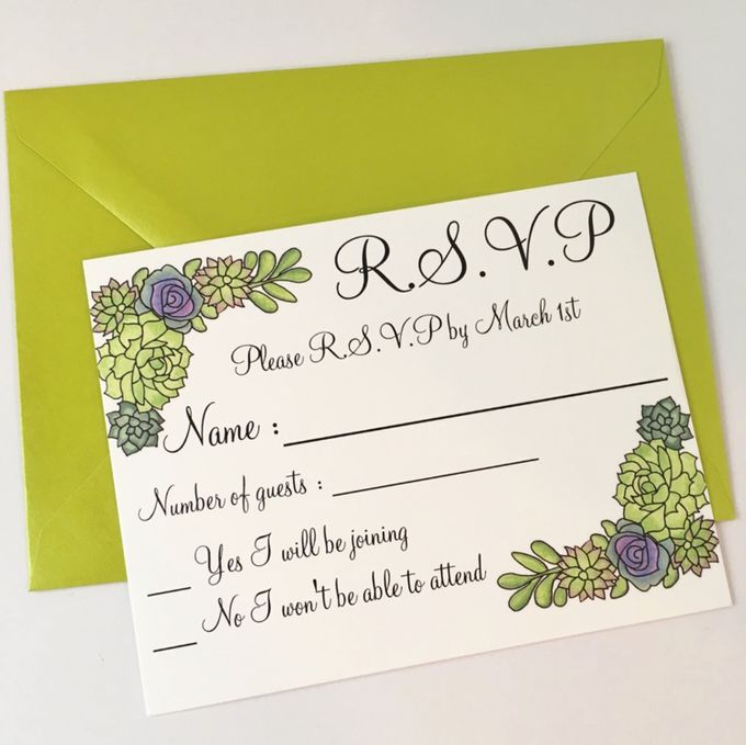 Water color succulent invitation suite by Fancy Paperie - 002