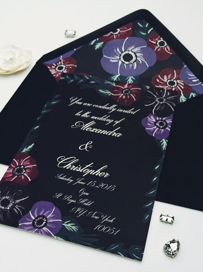 dark floral wedding invitation with matching envelope liner by Fancy Paperie - 002