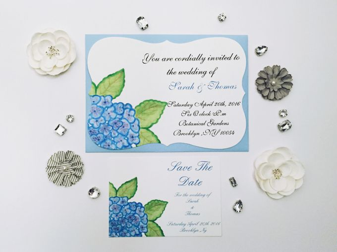 water color hydrangea invitation set by Fancy Paperie - 001