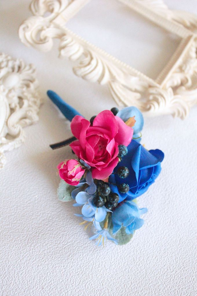 Contrast Combination of Royal Blue and Pink by Cup Of Love Design Studio - 003