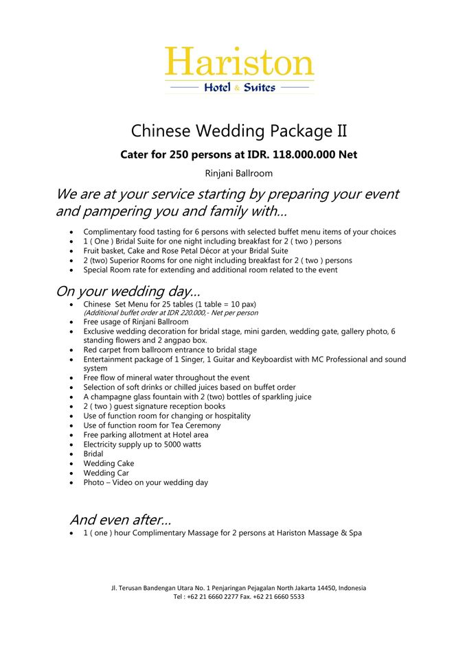 One Stop Wedding Packages Price List By Hariston Hotel & Suites