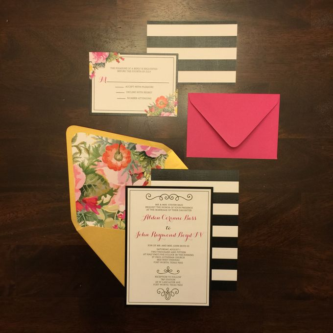 Black White Striped Floral Wedding Invitation in Pink Gold by – Brown and Gold Wedding Invitations