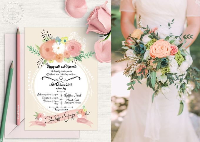 Painterly Floral Wedding Kit by The Cat Carousel - 002