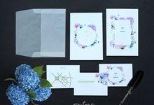 MIA & EDWIN WEDDING INVITES HYDRANGEA by Pentone Craft and Paper