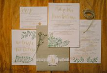 Watercolor and Calligraphy Wedding Invitations by First of April
