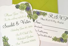Water color succulent invitation suite by Fancy Paperie