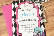 Alice in wonderland bridal shower invitations by Fancy Paperie