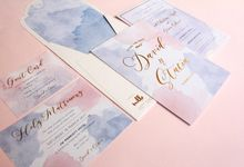 Rose Quartz & Serenity Watercolor Invitation by Mille Paperie