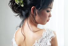 Natural Eyelid Enhancement Makeup Romantic Chic Floral Bridal Updo by Sylvia Koh Makeup and Hairstyling