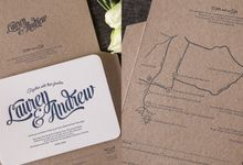 Lauren & Andrew aerogramme invitation by Paper Elephant