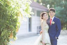 A-line gown with golden lace details by Kelly's Bridals