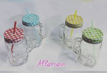 Glass And Jar With Straw by Alleriea Wedding Gifts