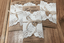 Rustic lace invitation by La Grazia Wedding & Party Supplies